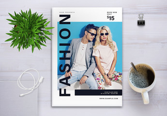 Fashion Show Flyer Layout with Photo Placeholder