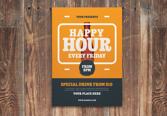 Happy Hour Flyer Layout with Orange Accents