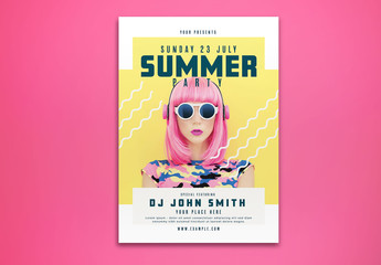 Summer Party Flyer Layout with Yellow Accents