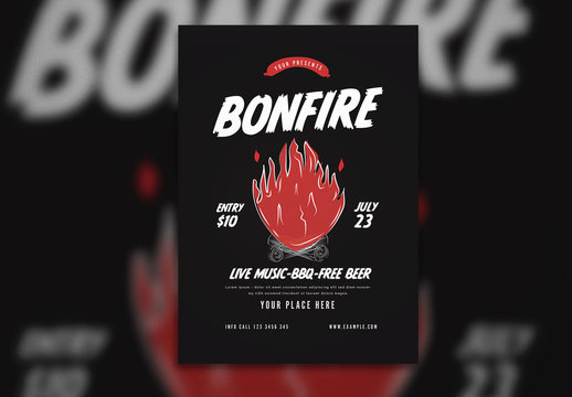 Bonfire Flyer Layout with Illustrated Flame