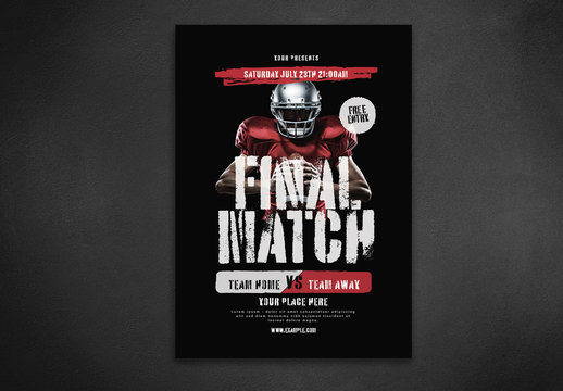 Sports Game Flyer Layout with Red Accents