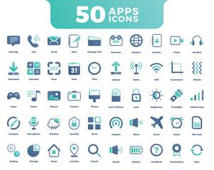 50 App Icons set with Beautiful color. Big Bundle App Icons set