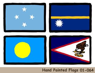 手描きの旗アイコン,ミクロネシア連邦の国旗,ナウルの国旗,パラオの国旗,サモアの旗 Flag of the Micronesia, Nauru, Palau, Samoa, hand drawn isolated vector icon.