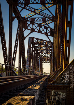 Old rustic bridge in golden hour in south gate Los Angeles