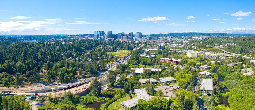 Bellevue Washington USA - City Skyline Panoramic Aerial View