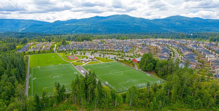 Snoqualmie Ridge Washington Aerial View Community Park Soccer Fields and Housing Development