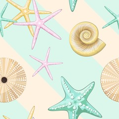In de dag Draw Seashells Retro Pastel Vector Seamless Pattern Textile Design