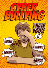 cyber bullying and social media Being Bullied By Text Message, Signs and Symptoms of Stress in Men, Pictures of men hold the head with hand, comic cover template background, speech bubbles, doodle art