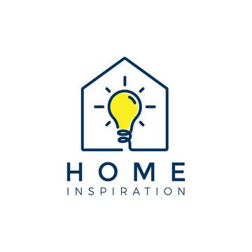 Light bulb in the house or home. smart house logo vector illustration - Vector