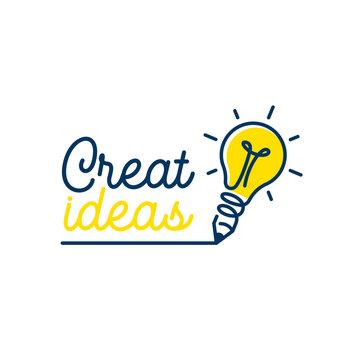 Pencil with lightbulb lamp. Creative Idea logo design. Vector illustration