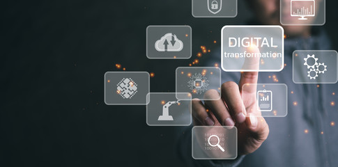 Digital transformation technology strategy, digitization and digitalization of business processes and data, optimize and automate operations, customer service management, internet and cloud computing