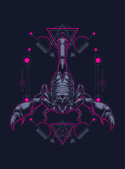 wild poisoned scorpion king logo illustration with sacred geometry as the background
