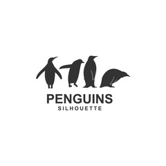 penguin logo template, design vector, animal, silhouette