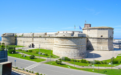 Historic Fort Michelangelo at Civitavecchia, Cruise and Industrial Port of Rome. Italy