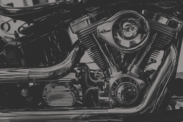 art photography in black and white vintage tone of chopper motorcycle engine., dim vintage tone Wall mural