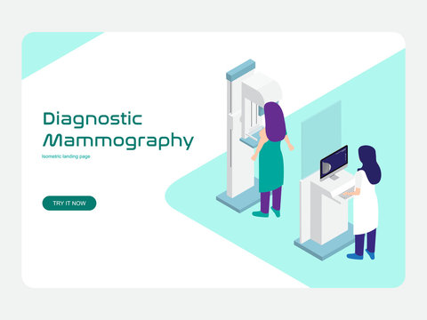 Diagnostic and screening Mammography vector. Modern flat isometric design