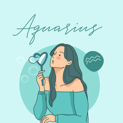 Pretty girl with horoscope sign on pastel background :Vector Illustration