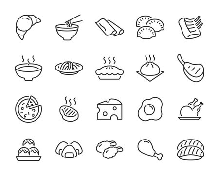 set of food icons, such as meat ball, sandwich, egg