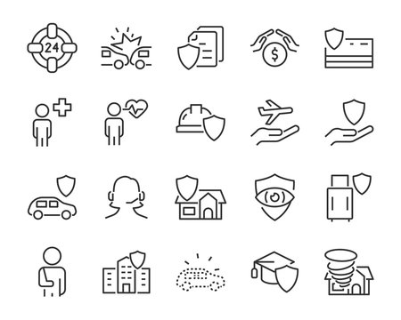 set of insurance icons, such as service, health insurance, help, risk