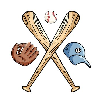 Two crossed baseball bats and ball, icon sports logo. Vector isolated illustration,. Simple shape for design logo, emblem, symbol, sign, badge, label, stamp.
