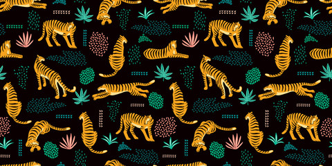 Seamless exotic pattern with tigers and abstract elements.