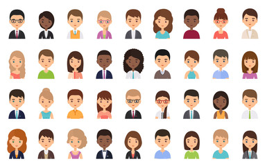 People faces. Avatar character in flat design. Business person. Vector. Men and women icons isolated on white background. Set female, male office workers. Cartoon illustration. Fototapete