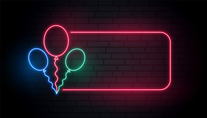 neon balloons banner with text space
