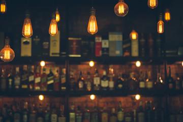 Vintage lamp with blurred liquor bar background Fototapete