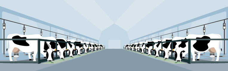 Modern dairy farm with automatic milking. Smart farming. Vector illustration EPS 10