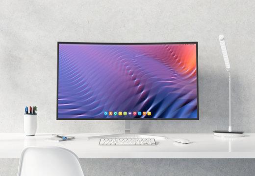 Curved monitor on white desktop concrete interior mockup 3D rendering