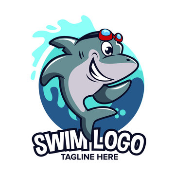 Shark cartoon logo can be used as logo for swim school logo
