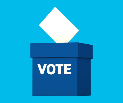Blue Democratic Voting Ballot Box with a Vote Ballot on Isolated Blue Background. 3D Illustration