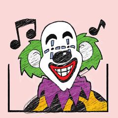 Joker cartoon with Musical note