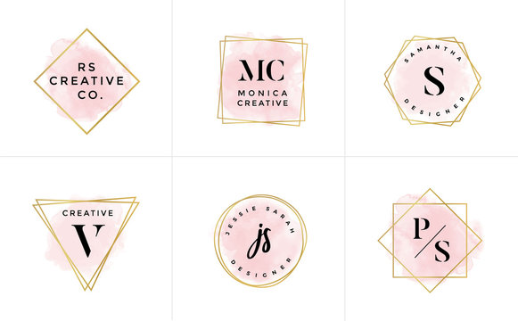 Set of Feminine Vector Signs or Logo Templates - Vector