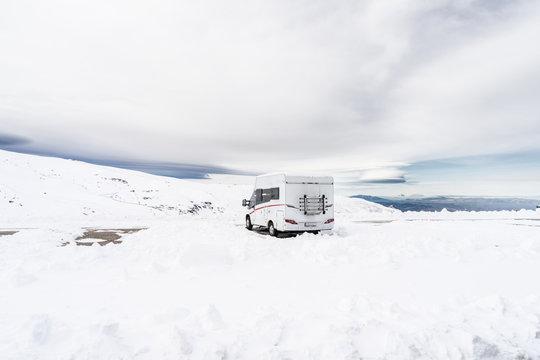 Motorhome at ski resort of Sierra Nevada