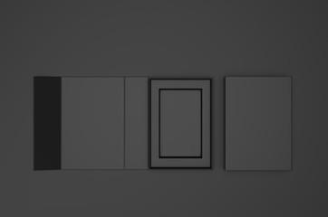 Blank folding box, 3d render illustration.