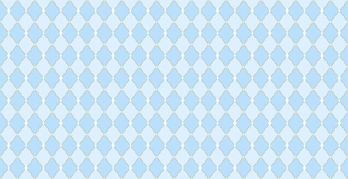 Light blue vector background with diamond, elegante golden line. Decorative  backdrop for invitation card, wrapper and decoration birthday party. Wallpaper for prince's style kid room. Gift wrap paper