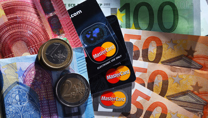 Euro currency and credit card of Mastercard