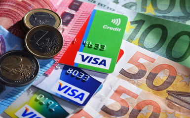 Euro currency and credit card of Visa