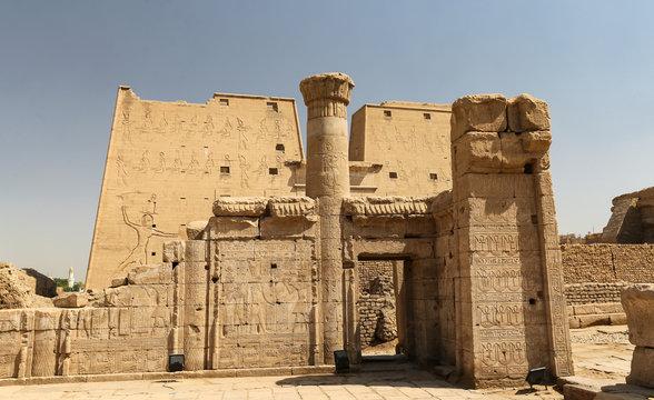 Front of Edfu Temple in Edfu, Egypt