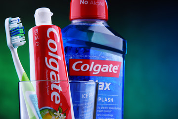 Composition with Colgate toothpaste and toothbrush