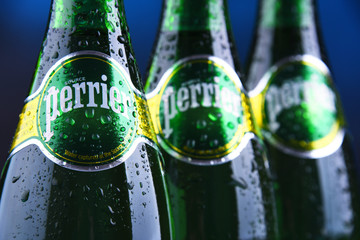 Bottles of Perrier mineral water