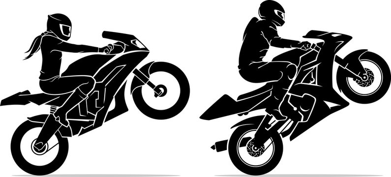 Male and Female Ride Sports Motorcycle