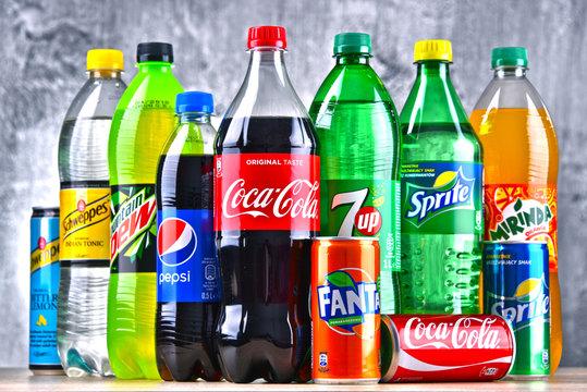 Bottles of global soft drink brands