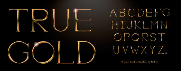 Realistic gold alphabet. Hand crafted serif font with rust effects. Gold roman textured uppercase.