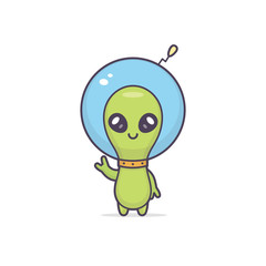 Cute friendly kawaii alien cartoon character vector illustration