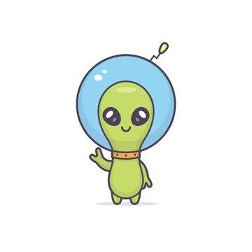 Cute friendly kawaii alien cartoon character vector illustration