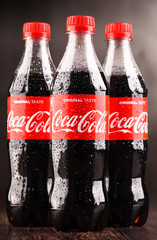 Bottles of carbonated soft drink Coca Cola