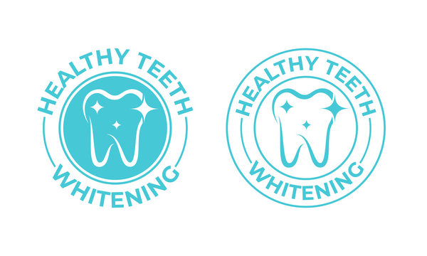 Teeth whitening, tooth vector icon. Healthy safe tooth whitening logo, toothpaste and dental mouthwash package stamp label