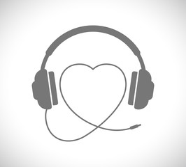 headphones with heart shape wire